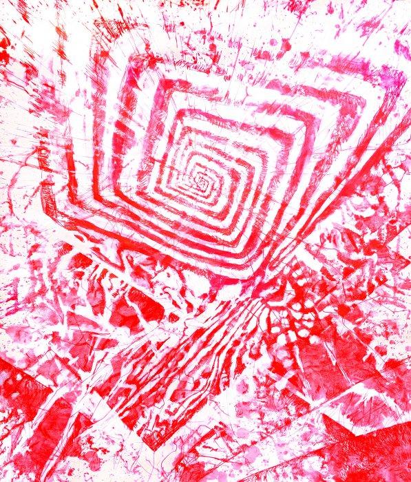 YANTRAM - RED 31 - TOR ROT -150x130cm RED INK